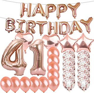Sweet 41th Birthday Decorations Party Supplies,Rose Gold Number 41 Balloons,41th Foil Mylar Balloons Latex Balloon Decoration,Great 41th Birthday Gifts for Girls,Women,Men,Photo Props