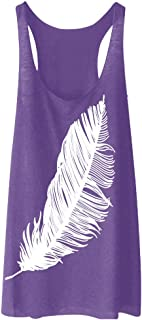 YANG-YI Women Summer Tunic Feather Printed Tank Top Cool Vest T Shirts Tops Girls Activewear