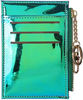 Fashion Shining Mini Wallets Purse Credit Card Holder Card Case with Key Ring (Green)