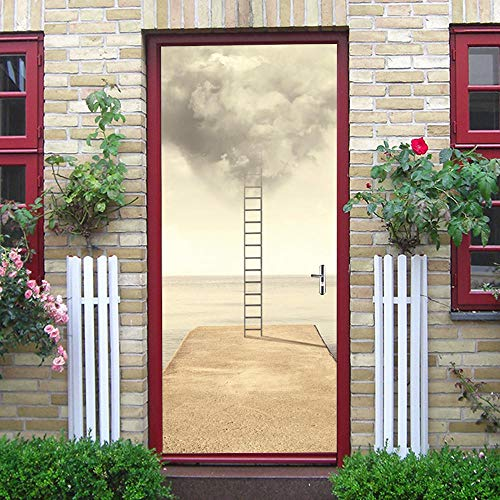 Wnyun 3D DIY PVC Deur Sticker Creatief Landschap zelfklevende Wallpaper muurschilderingen Decoratie Waterdichte Posters Decals Decoratie Sky Ladder Scenery 95x215cm