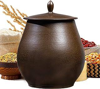 Pots et bocaux de conservation Seau à riz en céramique de 5 à 25 kg Réservoir de stockage scellé Seau à farine étanche à ...