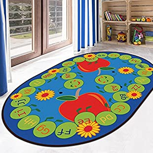 Ustide 5'x7' Alphabet Educational Kids Rug Red Apple Designer Learning Rug Vibrant Oval Kids Children Playroom Rug:Downloadlagump3gratis