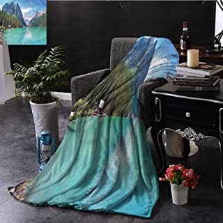 SSKJTC Landscape Pom Pom Throw Blanket Double-Sided Printing National Park Canada Lake Couch Bed Napping Reading Recliner W72 xL54