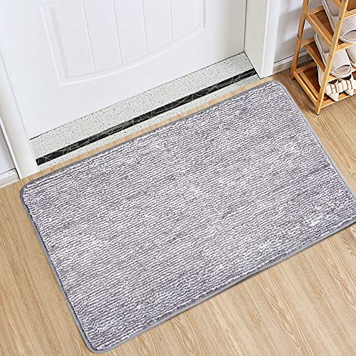 "Indoor Doormat Front Door Mat Non Slip Rubber Backing Super Absorbent Mud and Snow Magic Inside Dirts Trapper Mats Entrance Door Rug Shoes Scraper Machine Washable Rug Carpet - Grey, 24"" x 36"""