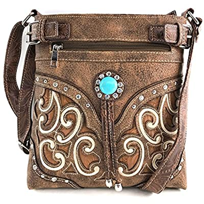 Justin West Tooled Gleaming Turquoise Stone Floral Laser Cut Rhinestone Messenger Bag Purse with Long Cross Body Strap (Tan Brown)
