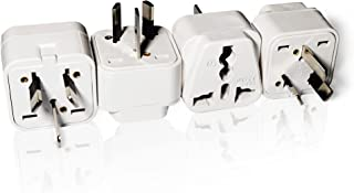 LESAAD Travel Adapter Pack of 4 with Universal Safety Grounded 3-pin Power Plug inputs, for International use (UK / US to AU)