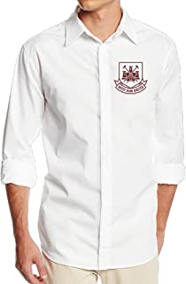 Boss-Seller Men's Classic West Ham United Football Club Long Sleeve Dress Shirt White