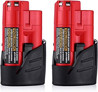 Replacement for Milwaukee M12 Battery 2.0Ah 12V Lithium Xc 48-11-2401 48-11-2402 48-11-2420 48-11-2430 48-11-2440 Cordlees Tools 2-Pack