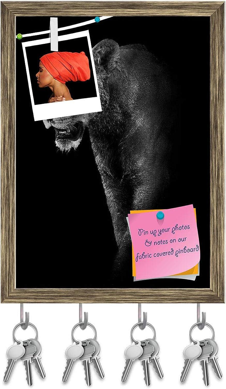 Artzfolio Lion D4 Key Holder Hooks   Notice Pin Board   Antique golden Frame 12 X 16.4Inch
