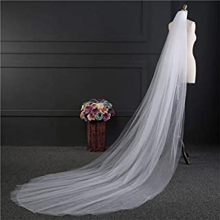 Simple Bridal Veil One-layer Tulle Long White Ivory Bride Veils Cut Edge Wedding Accessories 0531 yynha (Color : Ivory)