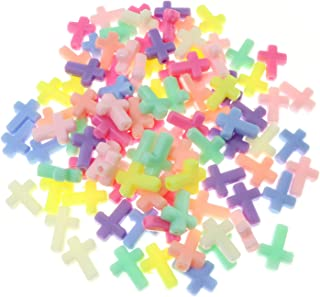 Tegg Acrylic Cross Beads 100PCS Mixed Color Plastic Loose Beads Spacer Beads for DIY Jewelry Findings 13x16mm