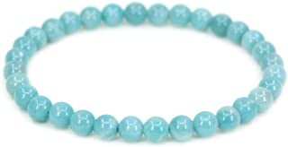 Natural Gem Semi Precious Gemstone 6mm Round Beads Stretch Bracelet 7