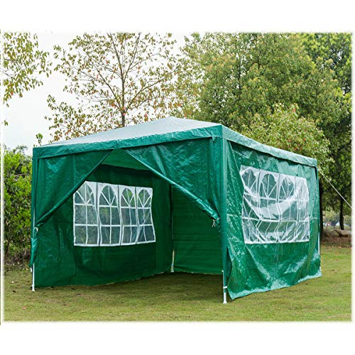 JAOSY 3M x 4M Gazebo Tent Marquee Canopy Powder Coated Steel Frame for Outdoor Wedding Garden Party Camping, with Side Panels, Waterproof, 5 Year Warranty, Green