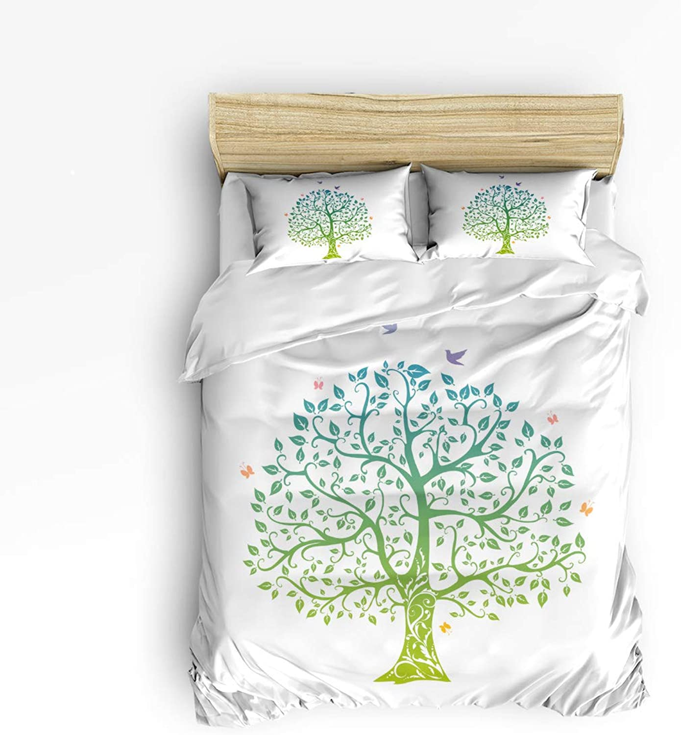 USOPHIA Full Size 4 Pieces Bed Sheets Set, Tree of Life Ornate Doodles Green Decorative 4 Pieces Bed Sheets Set,