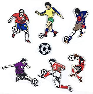 7 Pack Delicate Embroidered Patches, Soccer Embroidery Patches, Iron On Patches, Sew On Applique Patch, Custom Backpack Patches for Boys, Girls, Kids, Super Cute!