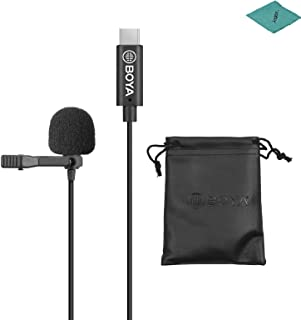 BOYA by-M3 Lavalier Microphone Lavalier Lapel Microphone with 6 Meters Cable Compatible with USB Type-C Interface with Cle...