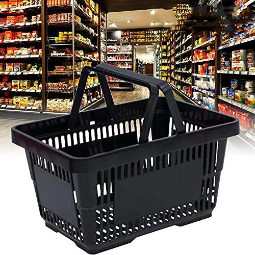 상점 쇼핑을 위한 핸들 소매 쇼핑 바스켓이 있는 12개의 쇼핑 바스켓 내구성 블랙 플라스틱 쇼핑 바스켓 세트