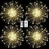 FOOING 4 Pack Firework Lights Led Copper Wire Starburst String Lights 8 Modes Battery Operated Fairy Lights with Remote,Wedding Decorative Hanging Lights for Party Patio Garden Decoration (White)
