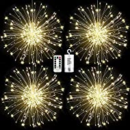 FOOING 4 Pack Firework Lights 120 led Copper Wire Starburst String Lights 8 Modes Battery Operated Fairy Lights with Remote,Wedding Decorative Hanging Lights for Party Patio Garden Decoration (White)