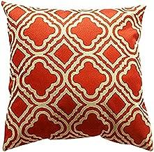 Lydealife Throw Pillow Cushion Cover, Argyle Pattern, Orange