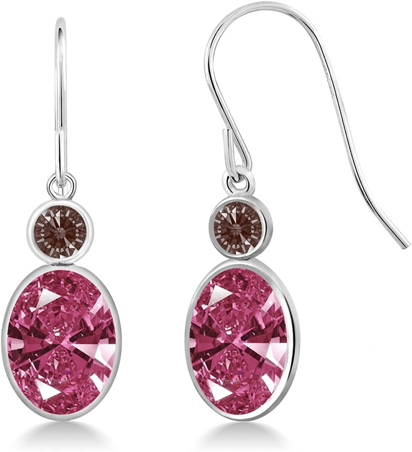 2.64 Ct Red 14K White gold Earrings Made With Swarovski Zirconia