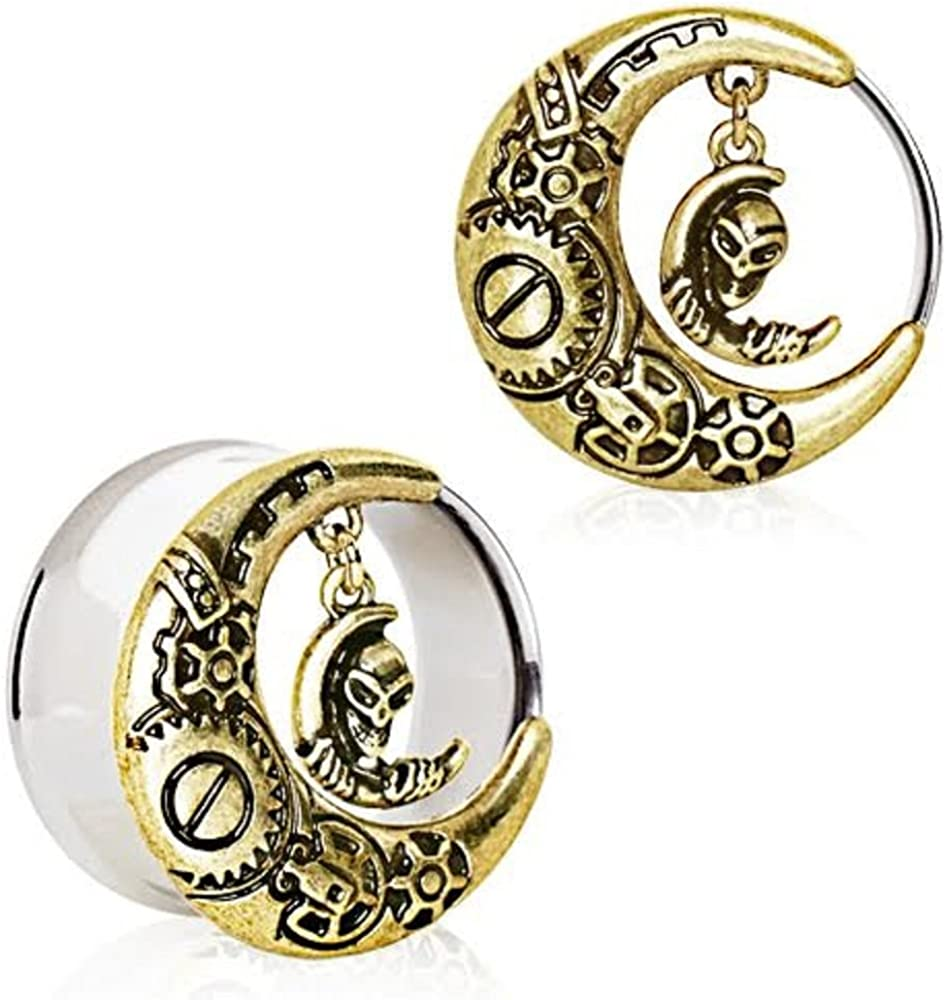 Covet Jewelry Gold Plated Steam Punk Crescent Moon Tunnel Plug with Alien Dangle