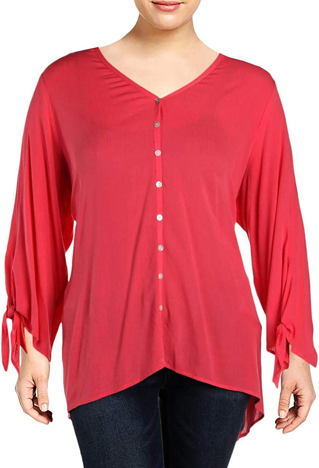 Karen Kane Womens Plus Tie 3 4 Sleeves ButtonDown Top