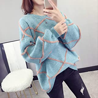 LCHOBYM Women's Sweater New Women Loose Sweater Autumn And Winter Long Sleeved Sweater