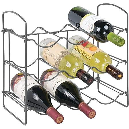 mDesign porte bouteille pour 9 bouteilles de vin, bière, eau – casier à bouteille avec 3 étages pour plan de travail – range bouteille autoportant en métal – 20,1 cm x 36,8 cm x 34,0 cm - gris foncé