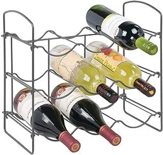 mDesign porte bouteille pour 9 bouteilles de vin, bière, eau – casier à bouteille avec 3 étages pour plan de travail – ran...