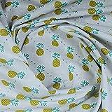Stoff Kinderstoff Baumwolle hellgrau Ananas Baumwollstoff