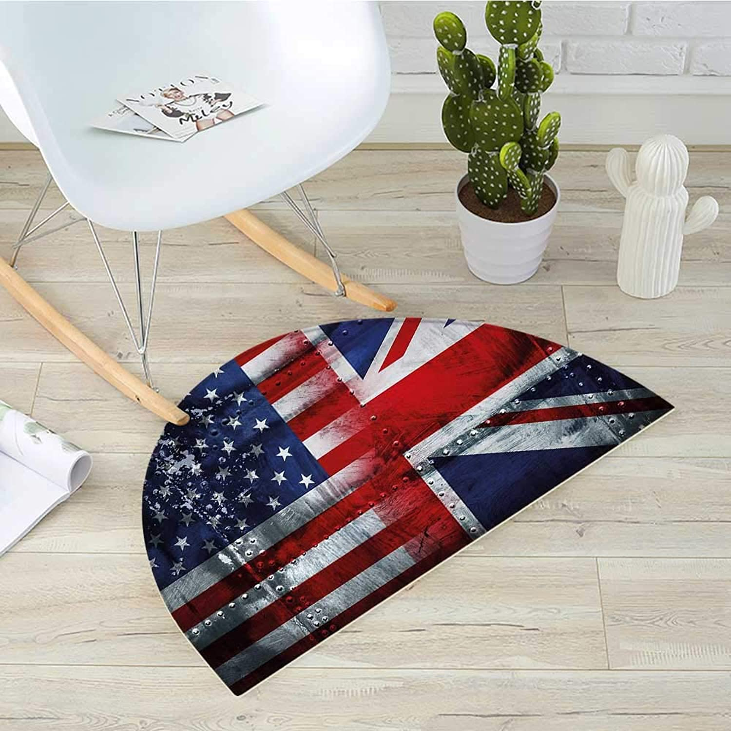 Union Jack Semicircle Doormat Alliance Togetherness Theme Composition of UK and USA Flags Vintage Halfmoon doormats H 35.4  xD 53.1  Navy bluee Red White