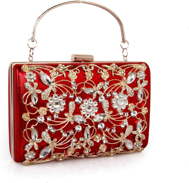 VECANCE Vintage Retro Hollow Engraved Metal Crystal Rhinestone Flowers Evening Clutch Box Bag Chain Handbag