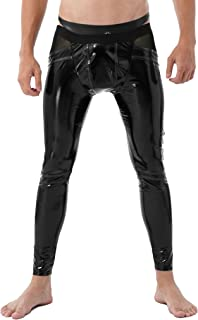 Kaerm Mens Shiny Patent Leather Hollow Out Open Pouch Butt Slim Fit Leggings Tight Pants Long Trousers