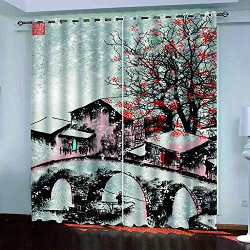 Cortinas De Impresión Creativa De La Casa De Flor De Ciruelo Abstracta, Cortinas De Poliéster Resistentes Al Desgaste, Cortinas Insonorizadas para Dormitorio 2 × 140 Cm × 175 Cm