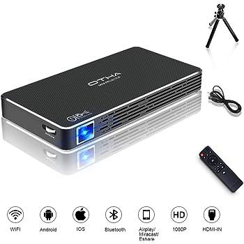 OTHA Pico Projecteur, Mini Projecteur Portable Videoprojecteur 100ANSI Lumens, Android 7.1 DLP WiFi Retroprojecteur, 1080P Full HD Home Cinéma Bluetooth HDMI pour Gaming/Laptop/PS4