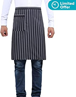 Bistro Apron Striped for Women Men - Half Apron with Pocket Unisex Serving apron for Waiter Waitress Server Restaurant Kitchen Cafe Cotton by BOHARERS