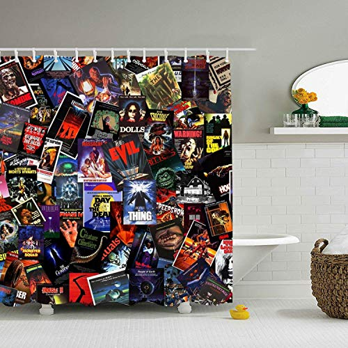 Bathroom Curtains Horror Movie Extra Long Shower Curtain Water-Repellent for Bath Decorations