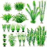 MyLifeUNIT Aquarium Plants, 20 Pack Artificial Fish Tank Plants for Aquarium Decorations (Green)