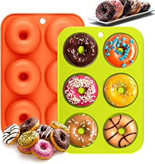 Moules à Donuts en Silicone,LangRay 2 Moule à Beignets de Qualité Alimentaire sans BPA 6 Cavités Anti Adhérentes Résistant...