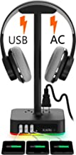 KAFRI RGB Headphone Stand with USB Charger Desk Gaming Headset Holder Hanger Rack with 3 USB Charging Port and 2 Outlet - ...