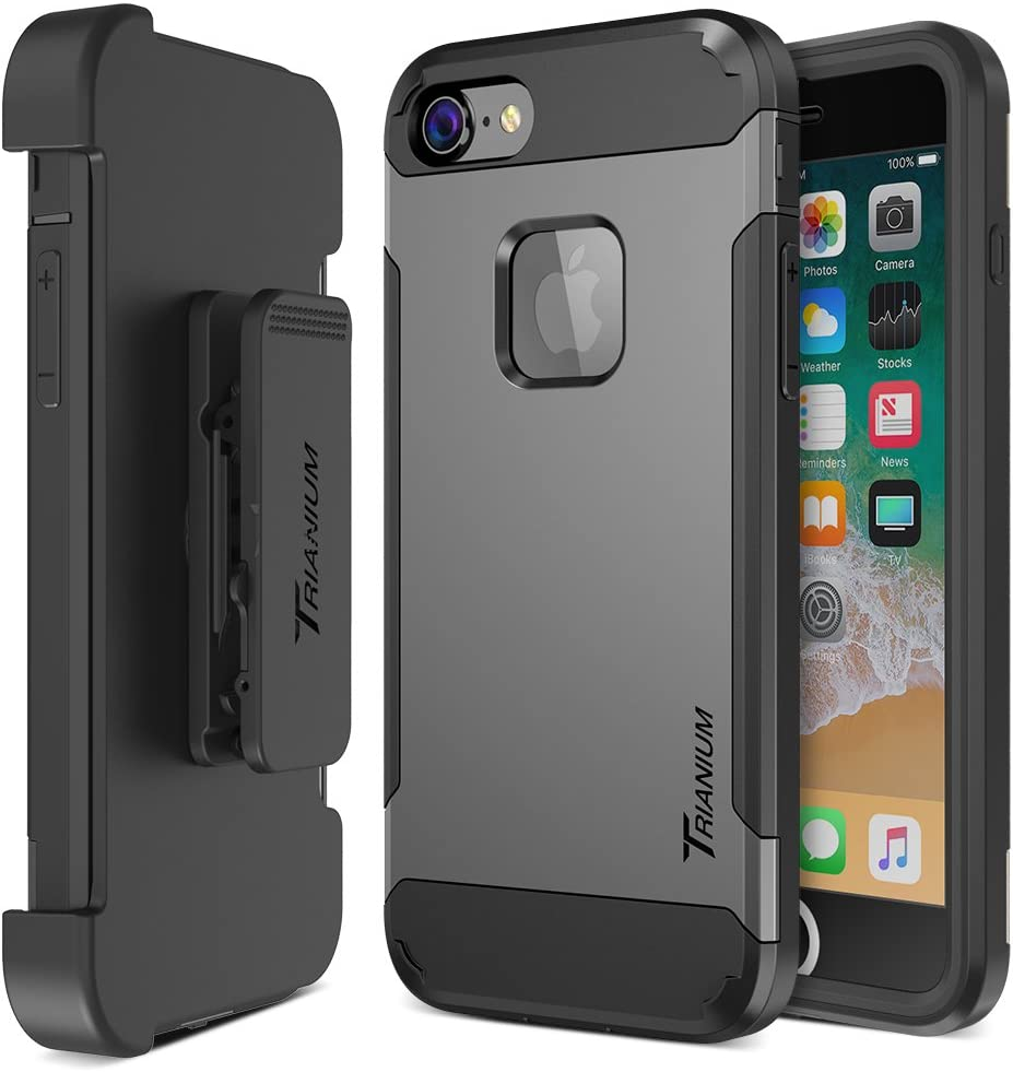 Trianium iPhone 8 Case [Duranium Series] with Holster Case Heavy Duty Protective Cover and Built-in Screen Protector for Apple iPhone8 Phone (2017) Belt Clip Kickstand [Full Body Protection]- Gunmetal