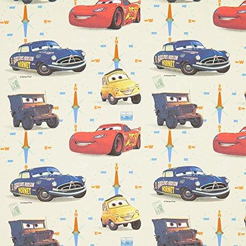 Baumwollstoff Disney Cars 1 – wollweiss — Meterware ab 0,5m — STANDARD 100 by OEKO-TEX® Produktklasse III — zum Nähen von Kinder Deko, Outdoor Deko und Kissen/Tagesdecken