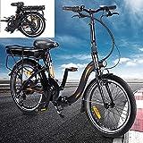 Bicicleta electrica Plegable Conduce a una Velocidad máxima de 25 km/h. Bicicleas Capacidad de la batería de Iones de Litio (AH) 10AH Ebike Tamaño de neumático 20 Pulgadas, Negro