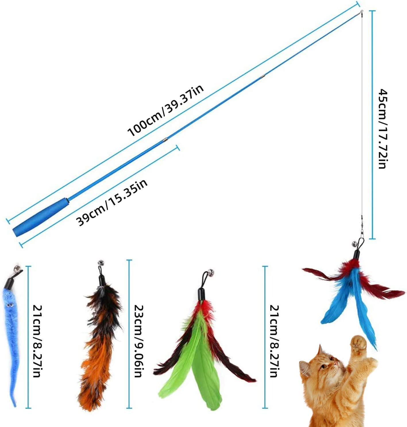 11 PCS Juguete Pluma de Gato Interactivo,Juguetes para Gatos interactivos para Gatos de interiorJuguete retr/áctil para Gatos con Palo de burla con Campanas y Juguetes de Plumas para interacci/ón