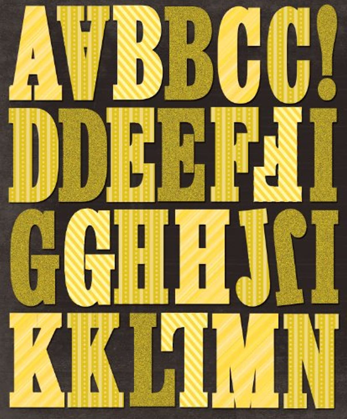 K&Company EK Success Yellow Stripes Alphabet Die-Cut Stickers