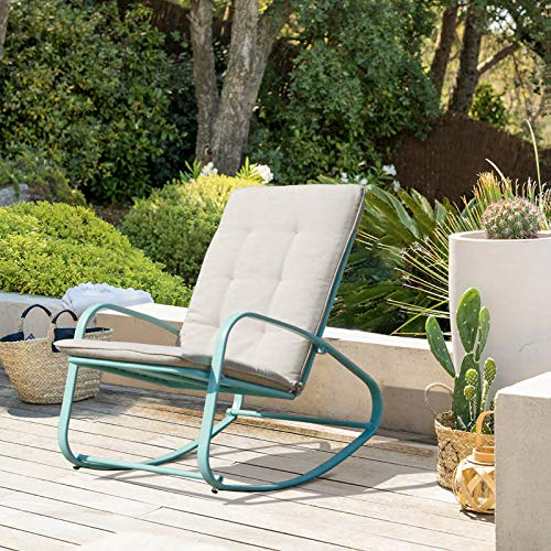 OC Orange-Casual Patio Rocking Chairs Outdoor Metal Rocker with Removable Paded Beige Cushion,...