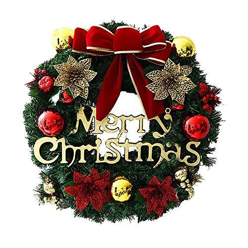 HARVESTFLY Weihnachtskranz, Türkranz Weihnachten Weihnachtsdeko Kranz Weihnachtsgirlande mit Kugeln Handarbeit Weihnachten Garland Deko-Kranz, 30CM (Dunkelrotes Band)