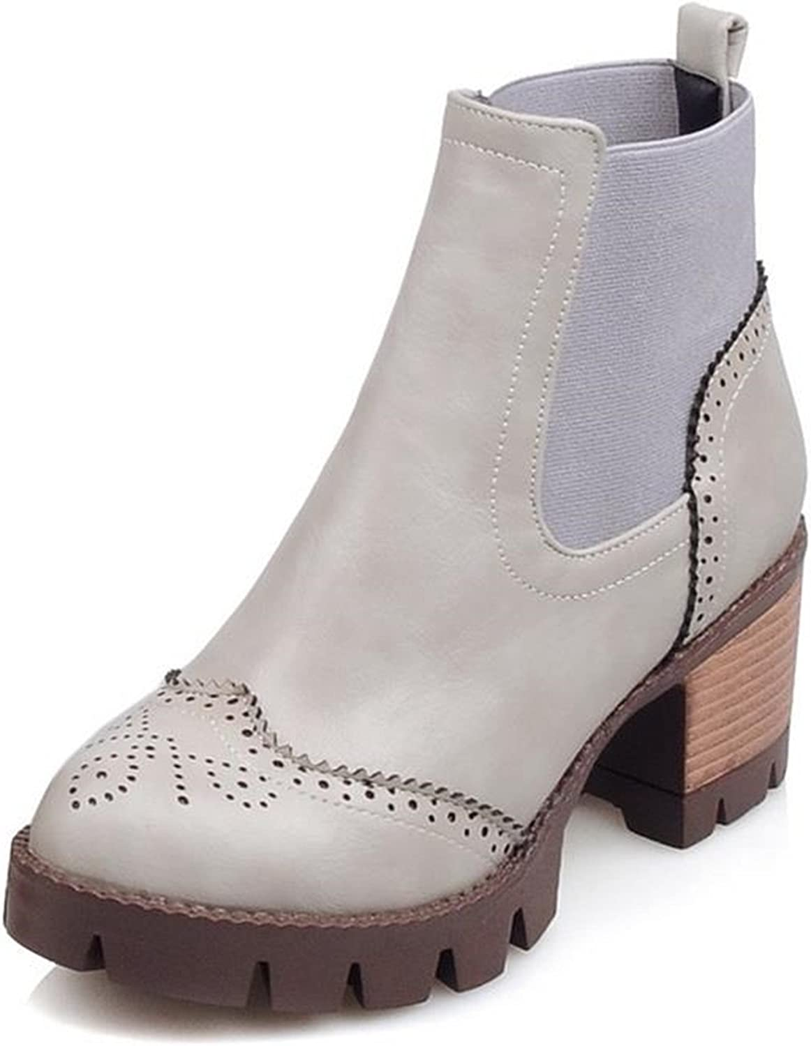 Jeff Tribble Ankle Boots with Cut Outs Square Heels Round Toe Platform Pu Soft Leather Women Fashion Boots