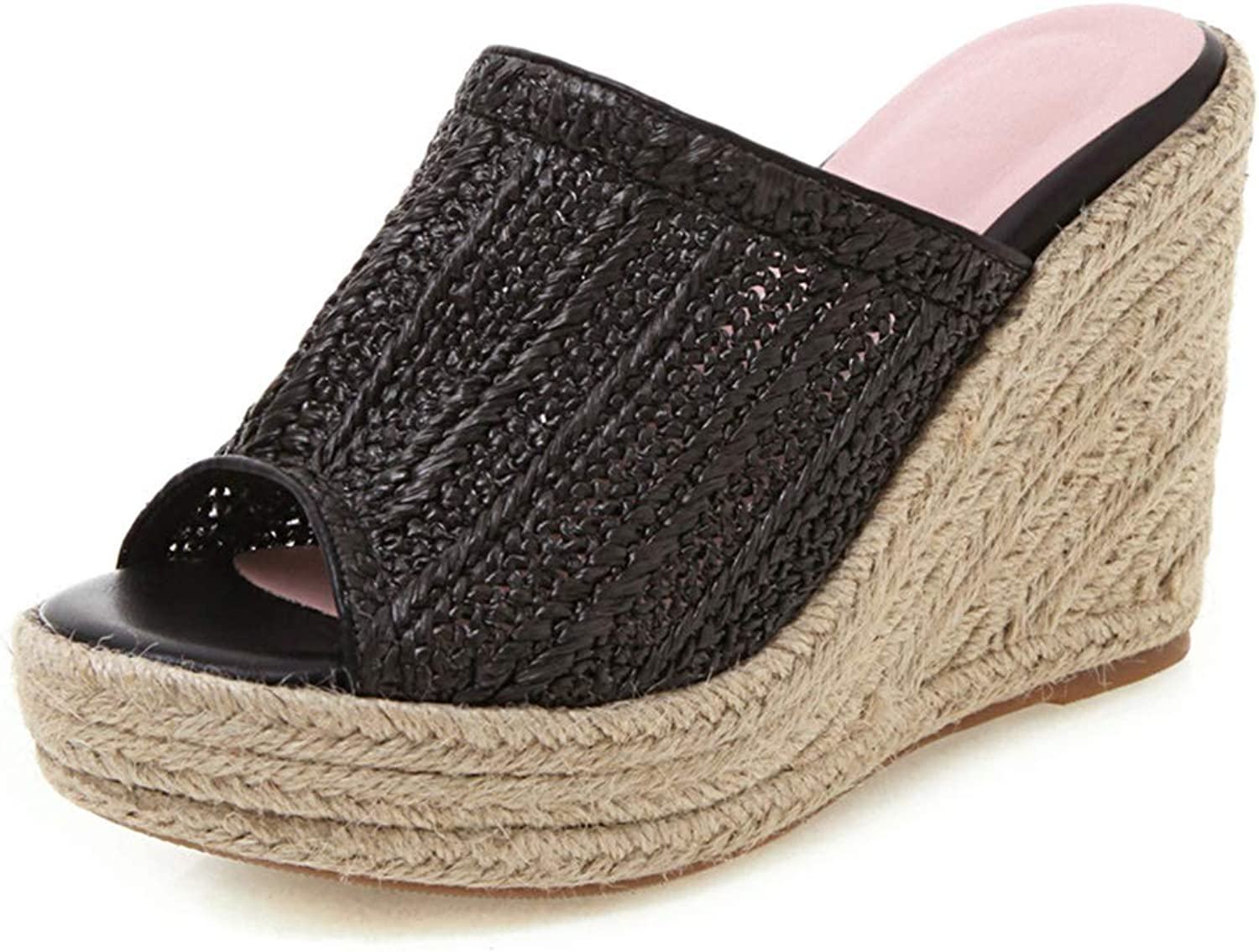 DoraTasia Women's Hand-Woven Slipper Summer Woven Leather Wedge shoes Slippers Open Toe Sandals